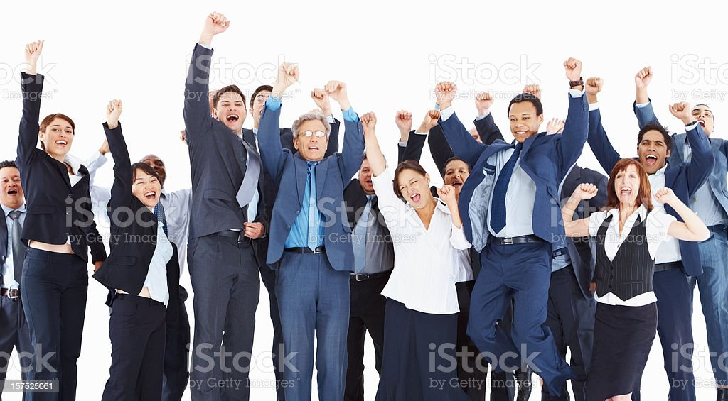 Business colleagues with arms raised over white background royalty-free stock photo