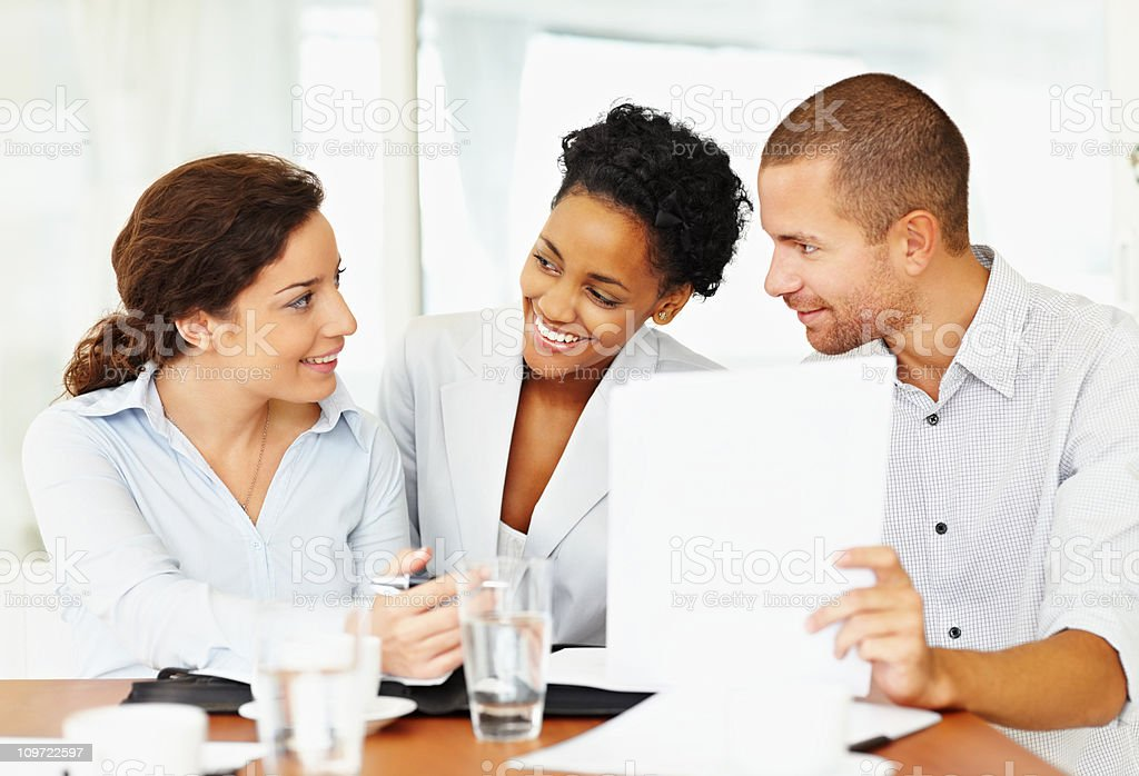 Business colleagues working together royalty-free stock photo