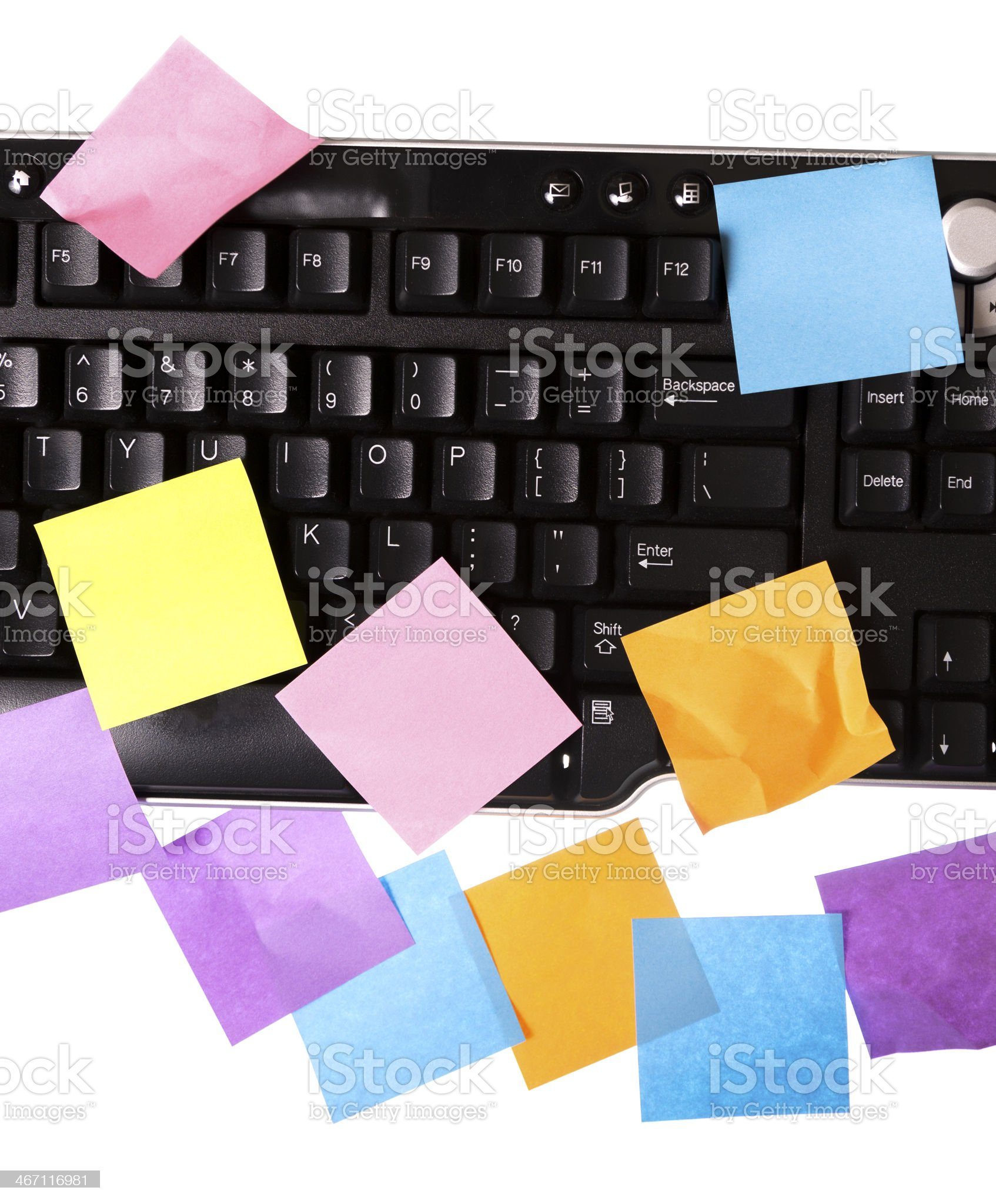 Business:  Colorful sticky notes on a keyboard. royalty-free stock photo