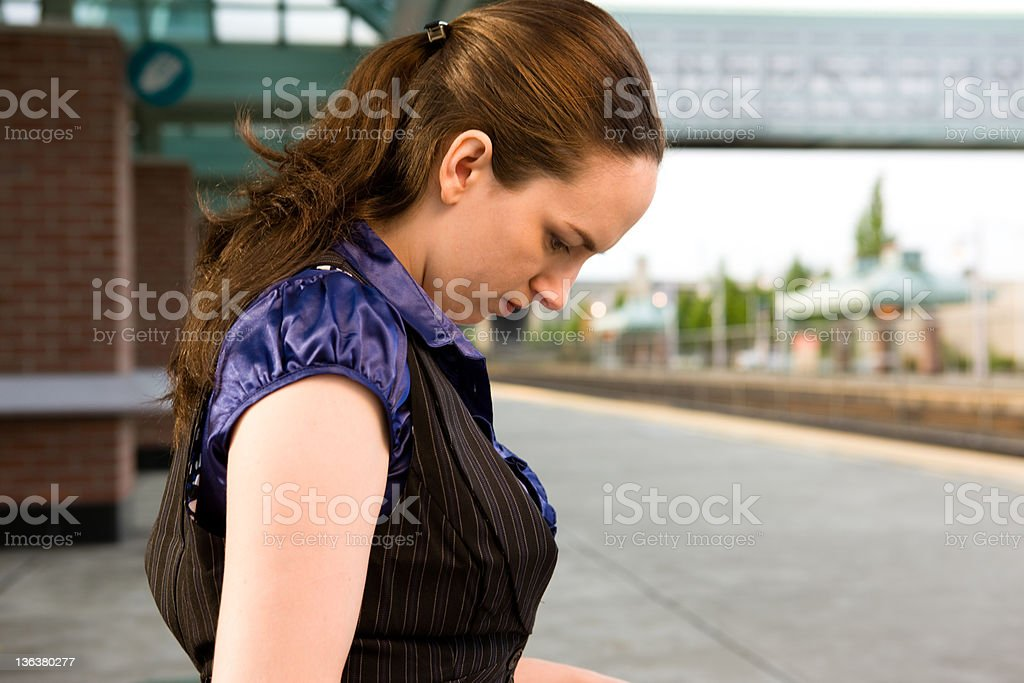 Business Commuter Waits for Train stock photo