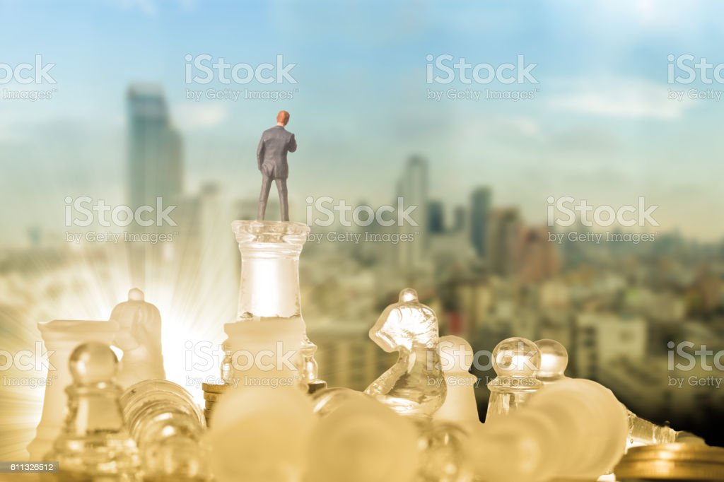Business competition chess battle strategy game. stock photo