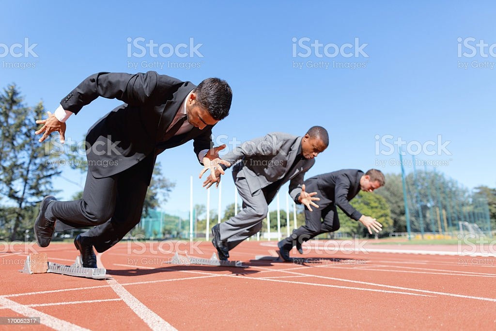 business competition on track stock photo