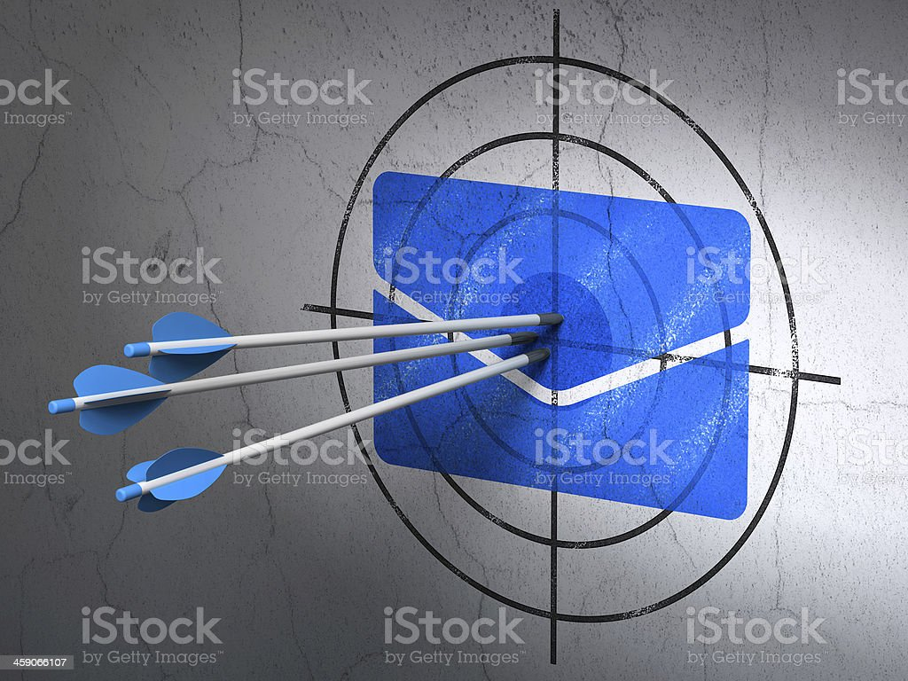 Business concept: arrows in Email target on wall background stock photo