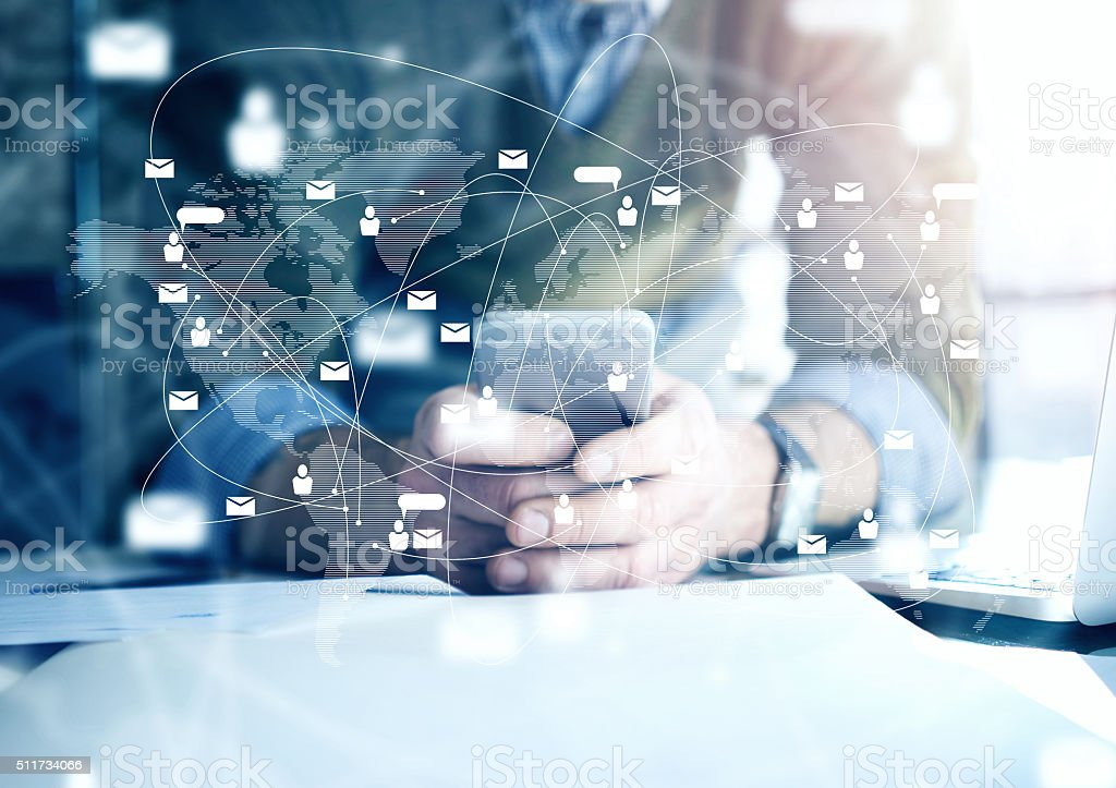 Business concept, businessman with smartphone. Worldwide connection technology interface, horizontal stock photo