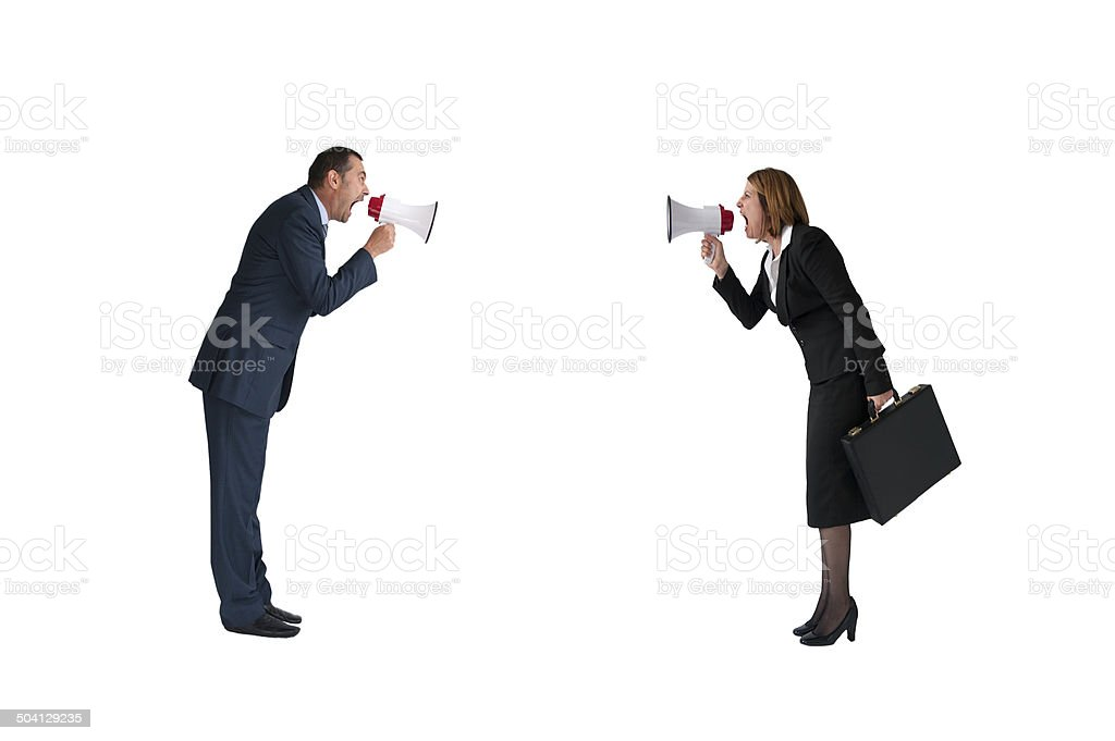 business concept conflict megaphone isolated stock photo