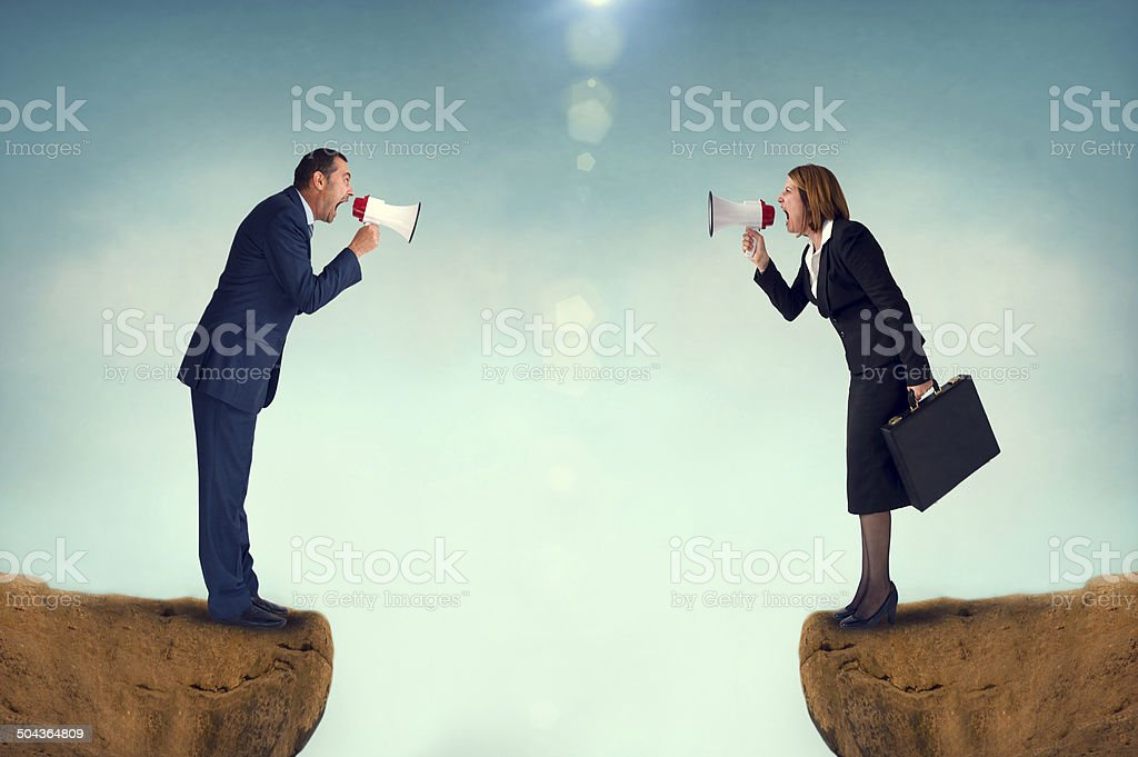 business concept conflict megaphone stock photo