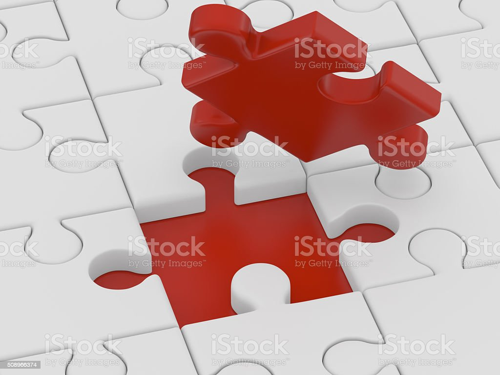 Business concept - final piece of jigsaw puzzle stock photo