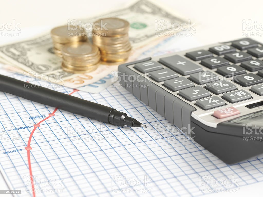 Business Concept: Financial Graph with Calculator royalty-free stock photo