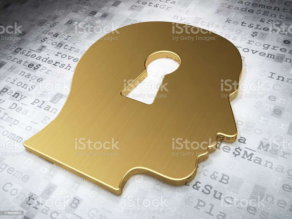 Business concept: Golden Head Whis Keyhole on digital background stock photo