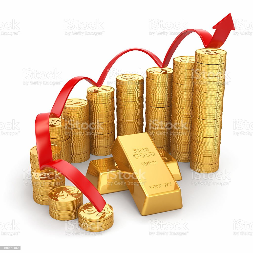 Business concept. Grow in the gold price. royalty-free stock photo