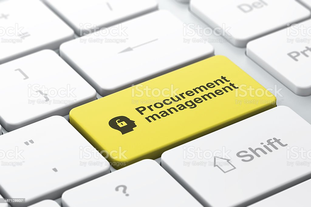 Business concept: Head With Padlock and Procurement Management on keyboard royalty-free stock photo