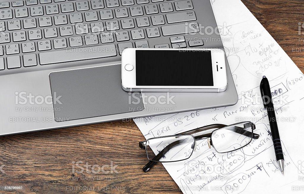 Minsk, Belarus - April 16, 2016: Business concept. Laptop Samsun stock photo