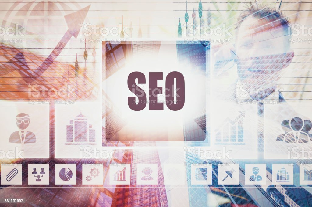 A SEO business concept montage. stock photo