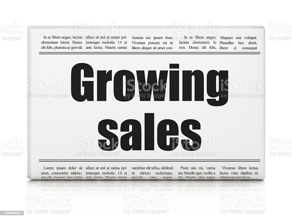 Business concept: newspaper headline Growing Sales stock photo