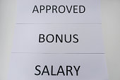 business concept of bonus and salary approval