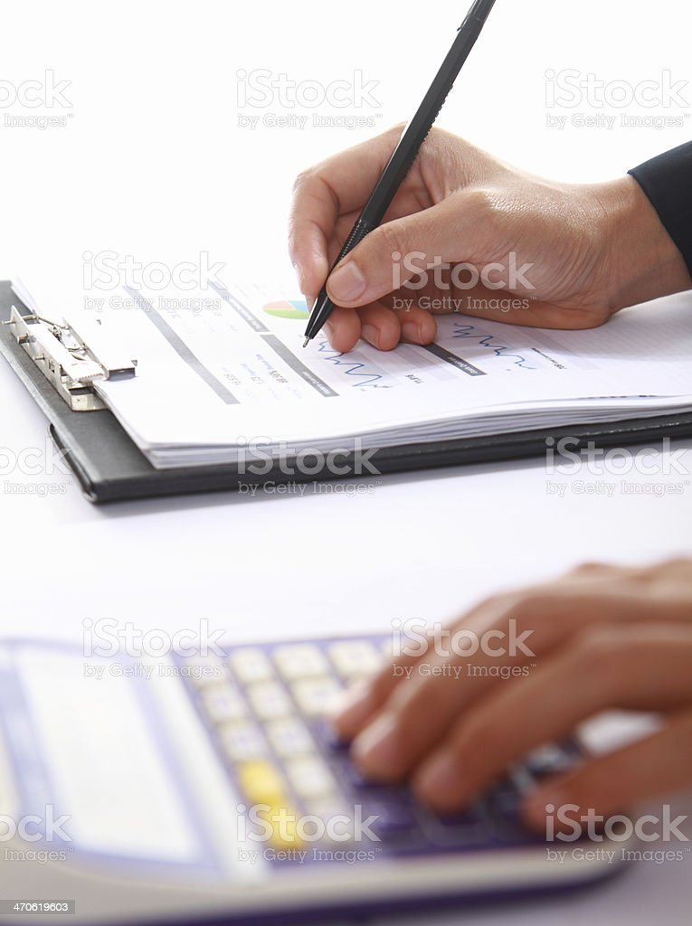 Business Konzept von hand analysieren Einkommen Punkte Lizenzfreies stock-foto