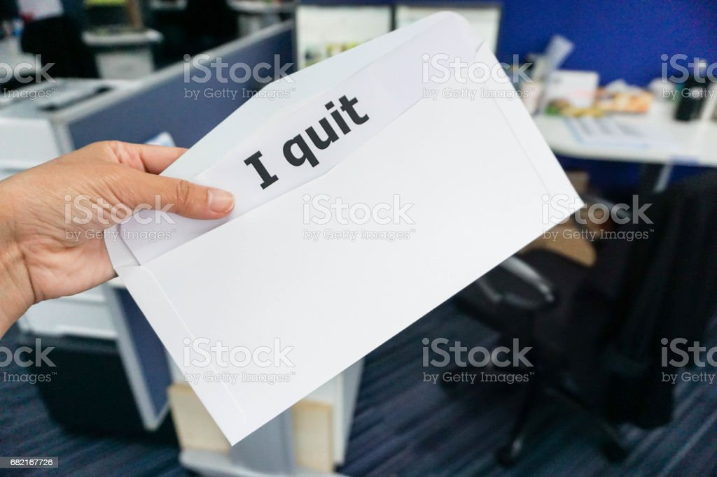 business concept of woman submit resignation letter to boss stock photo