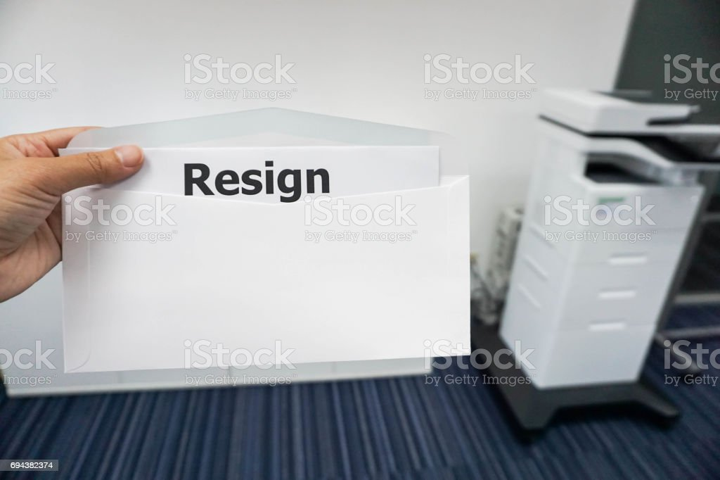 business concept of women submit resignation letter to her boss in office stock photo