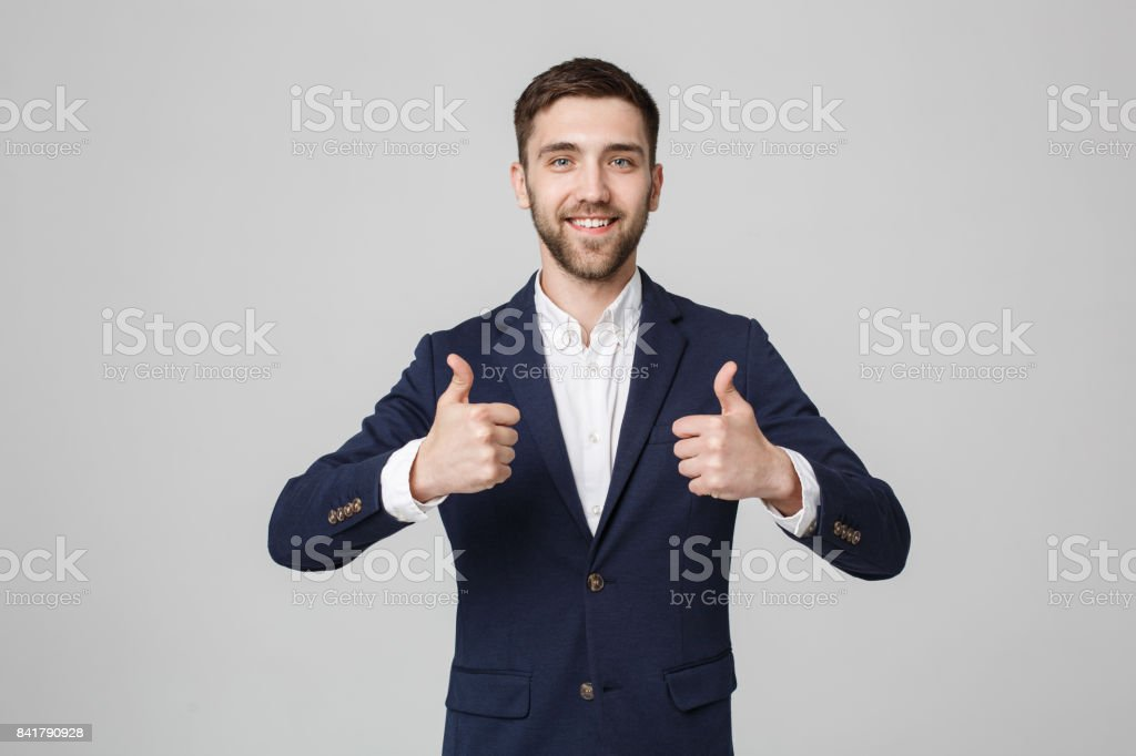 Business Concept - Portrait Handsome Business man giving double thump up. Isolated on White Background. stock photo