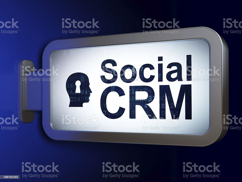 Business concept: Social CRM and Head With Keyhole on billboard royalty-free stock photo
