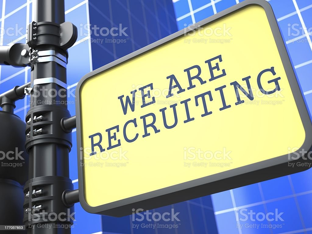 Business Concept. We Are Recruiting Roadsign. royalty-free stock photo