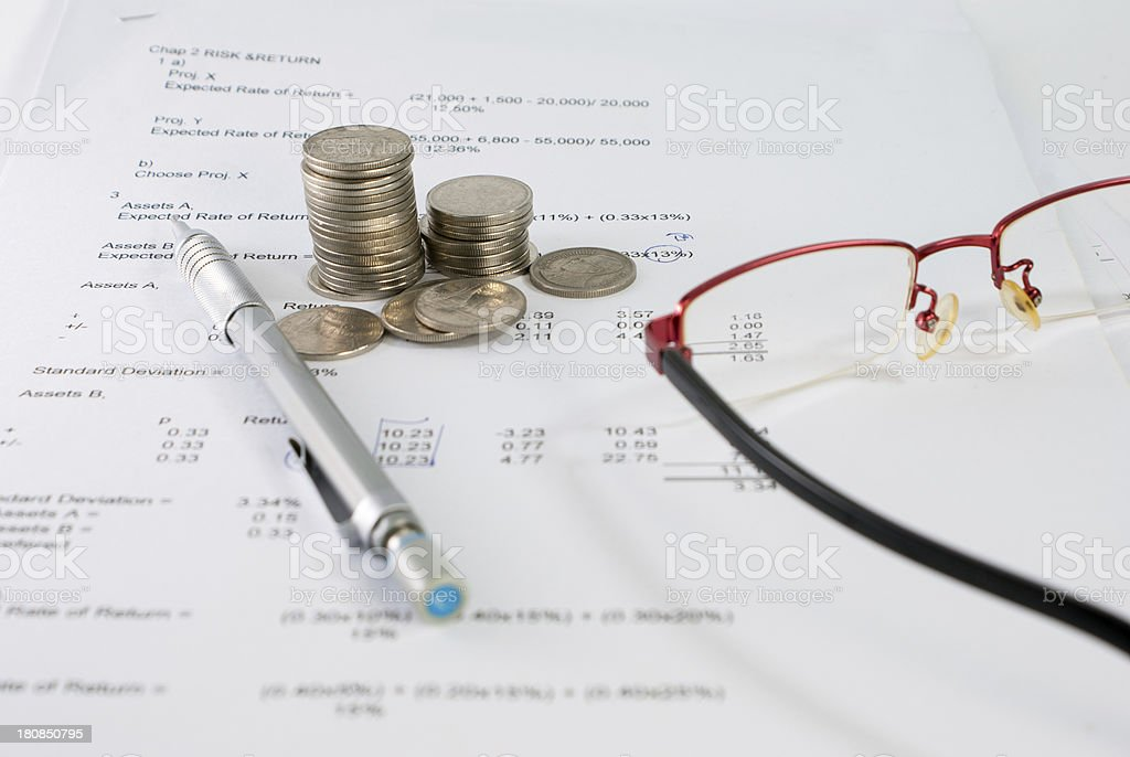 Business concept with notebook, glasses and pen royalty-free stock photo