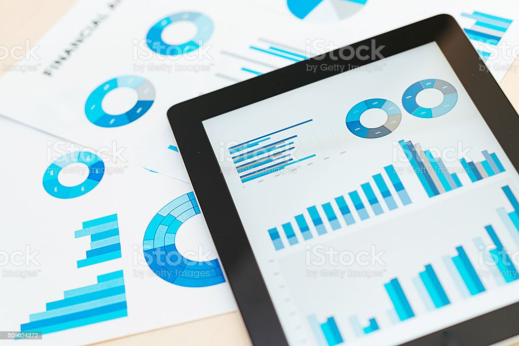 Business concept with stock market charts, business and investment analysis stock photo
