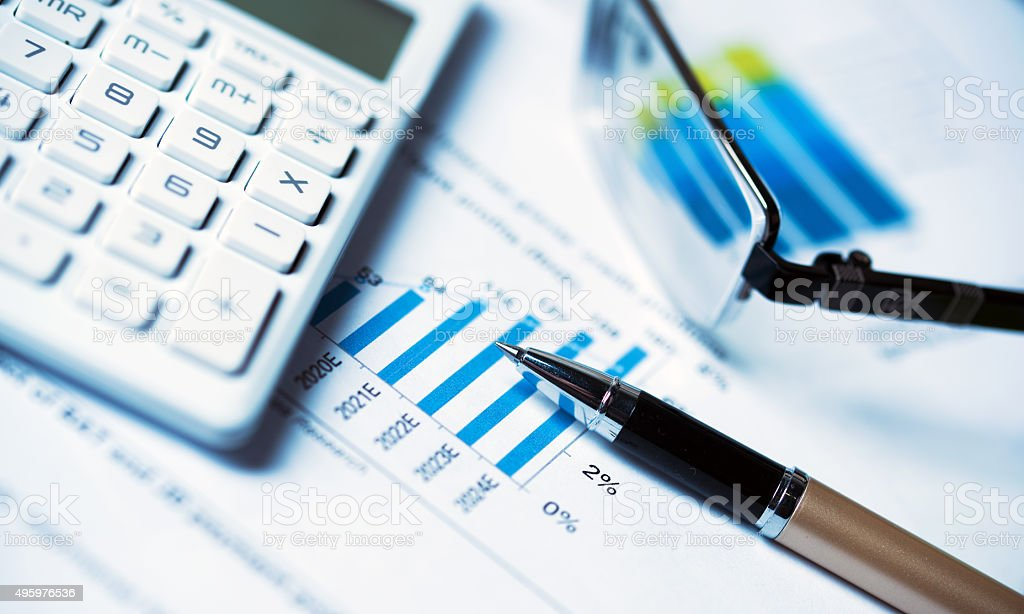 business concept:financial accounting analysis stock photo
