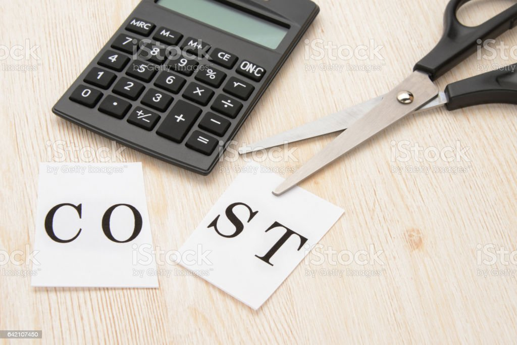 Business concepts, cost cut stock photo