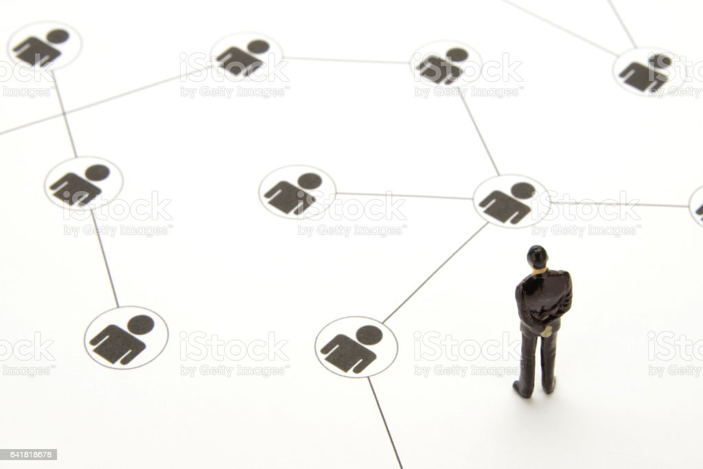 Business concepts, making use of social network services stock photo