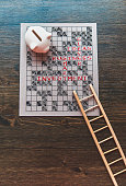 Business concepts puzzle with pig bank and ladder
