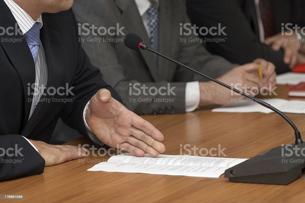 business conference microphones royalty-free stock photo