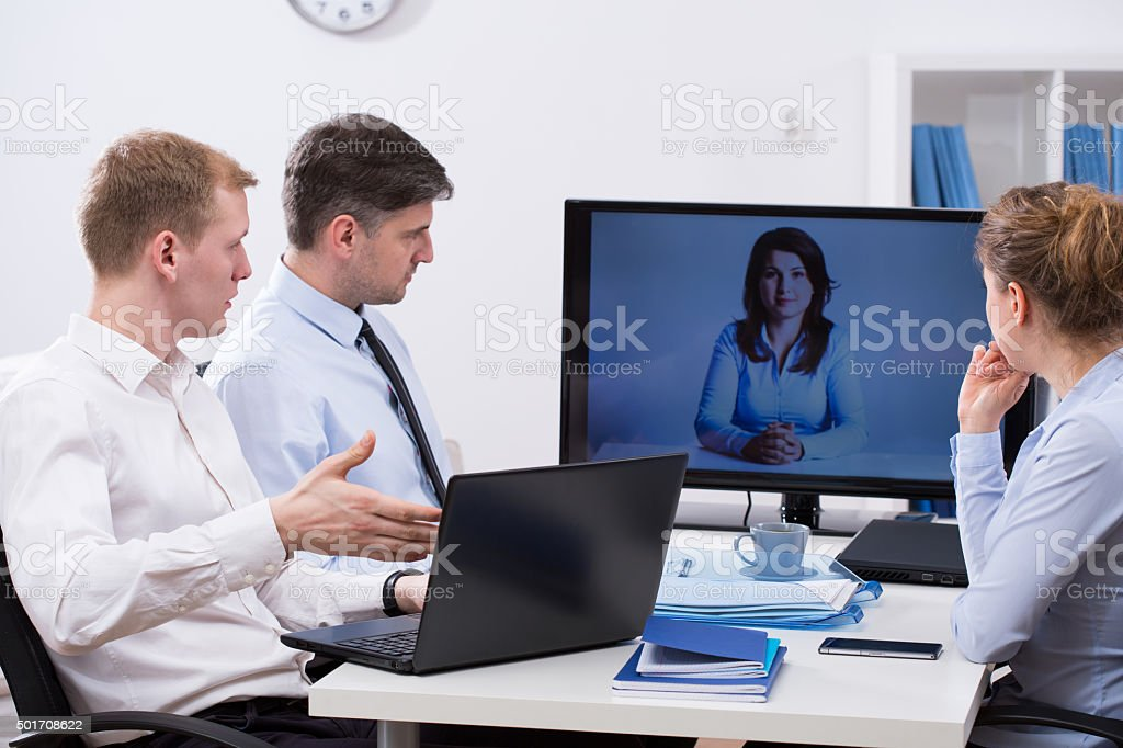Business conference online stock photo