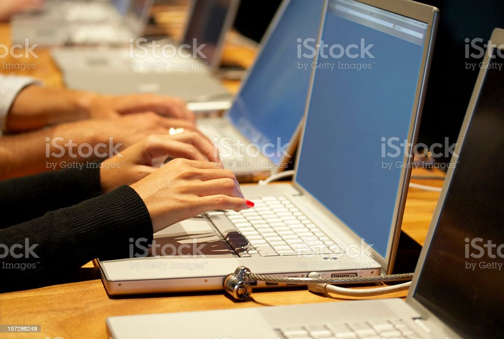 Business conference with people using laptops royalty-free stock photo