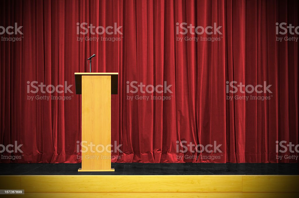 Business conference with rostrum stock photo