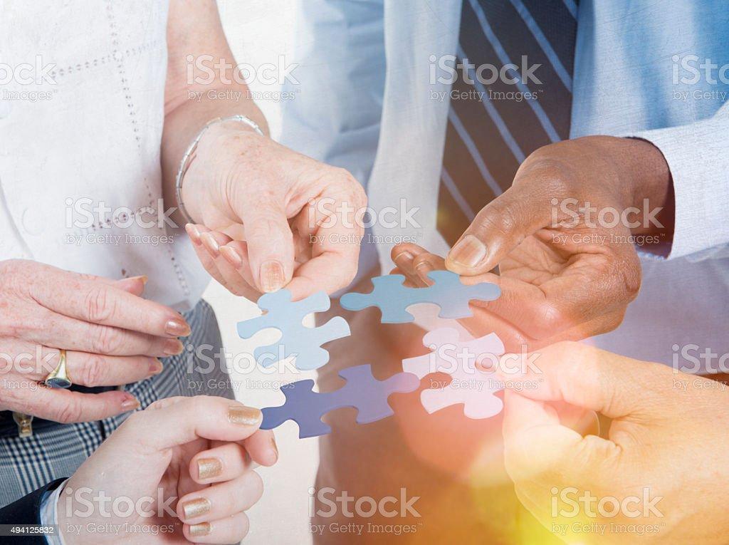 Business Connection Corporate Team Jigsaw Puzzle Concept stock photo