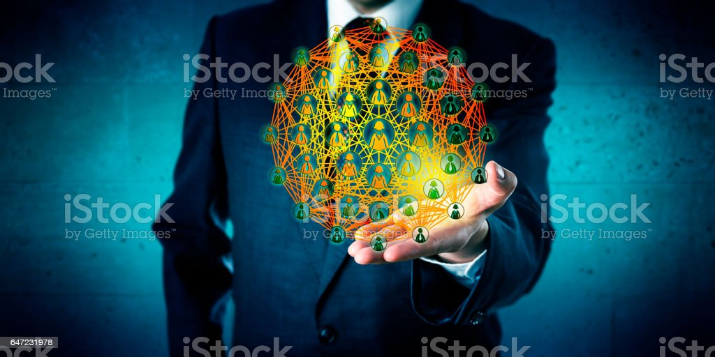 Business Consultant Showing A Global Network stock photo