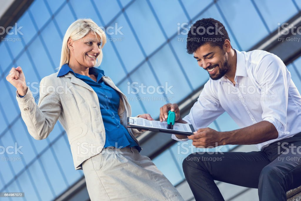 Business contract approved! stock photo