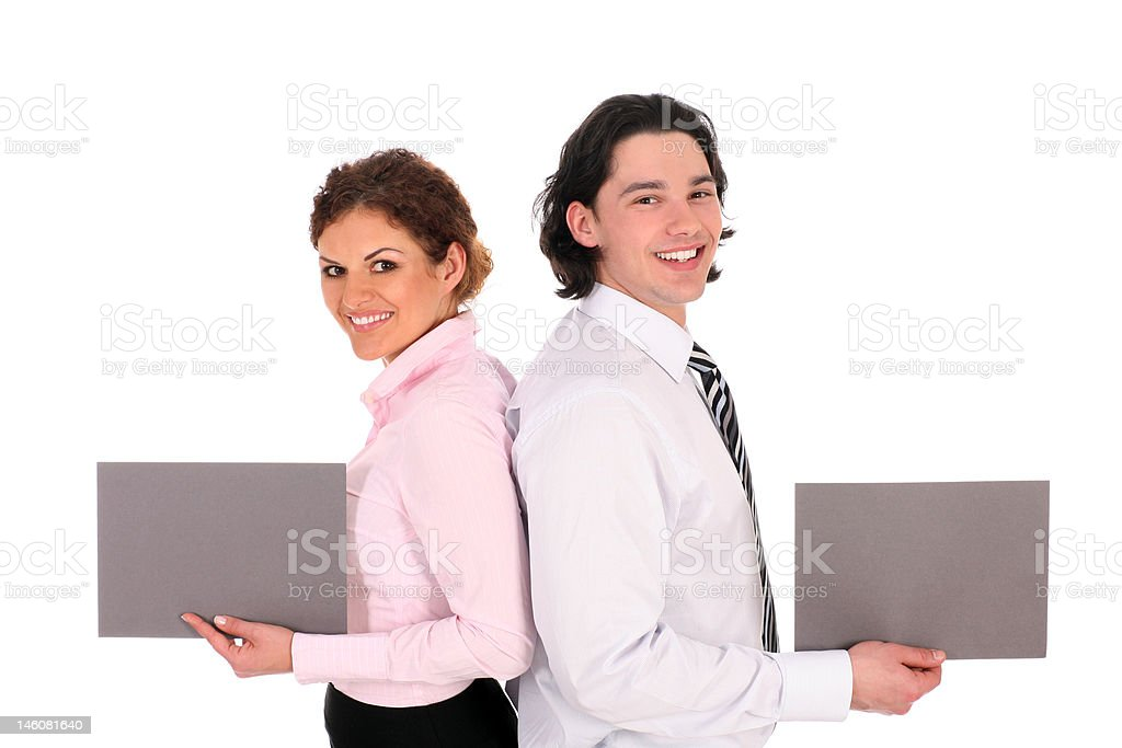 Business couple holding blank signs royalty-free stock photo