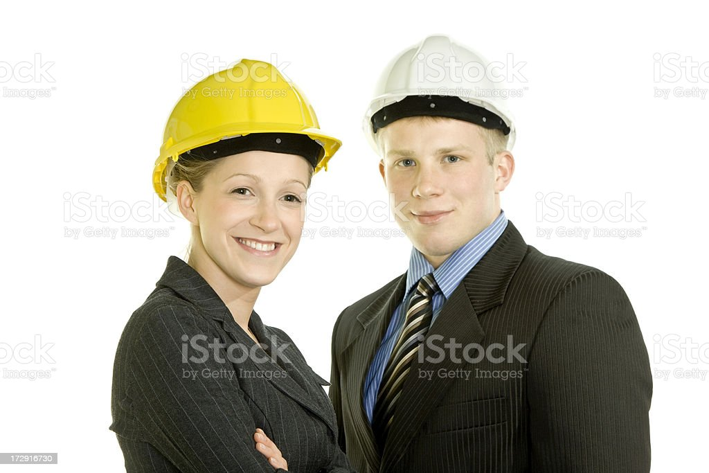 Business couple in hardhats isolated on white royalty-free stock photo