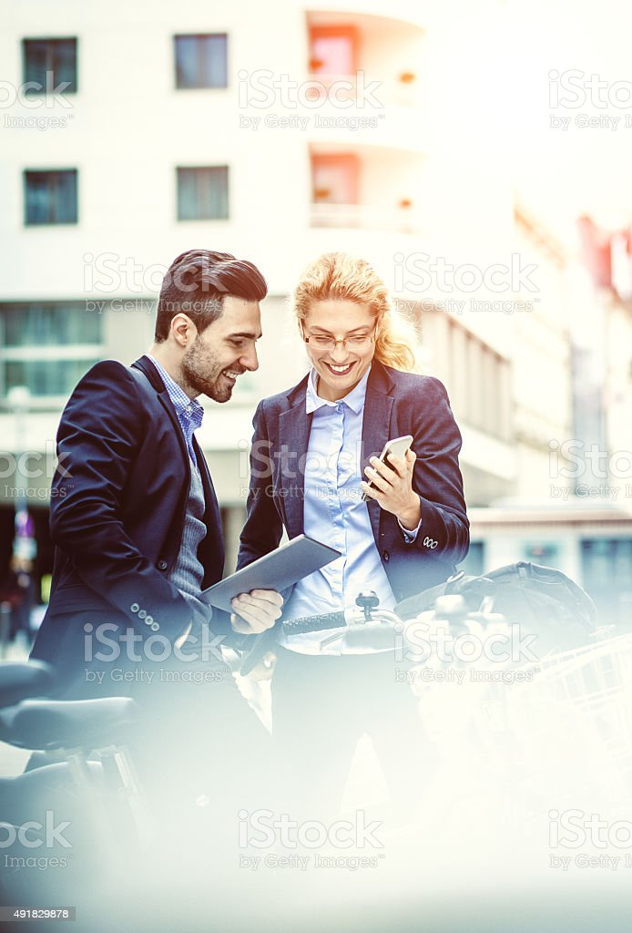 Business couple on the street stock photo