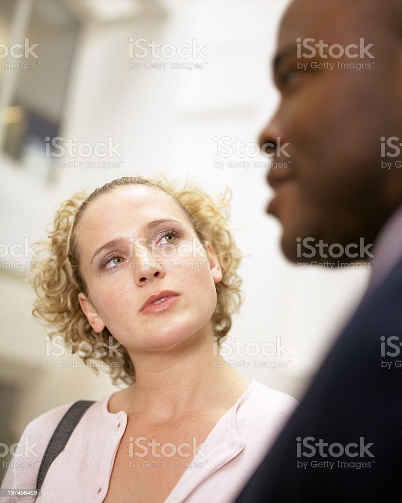 Business couple talking royalty-free stock photo