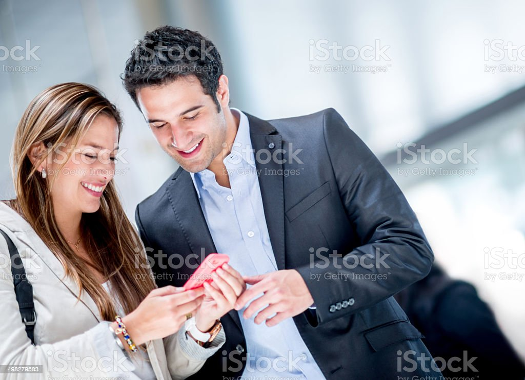Business couple traveling stock photo