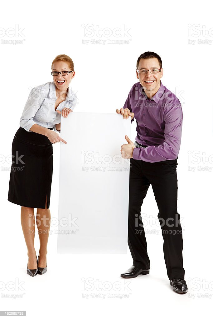 Business couple with an advert isolated on white royalty-free stock photo