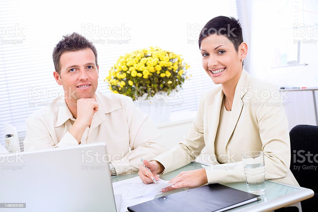 Business couple working royalty-free stock photo
