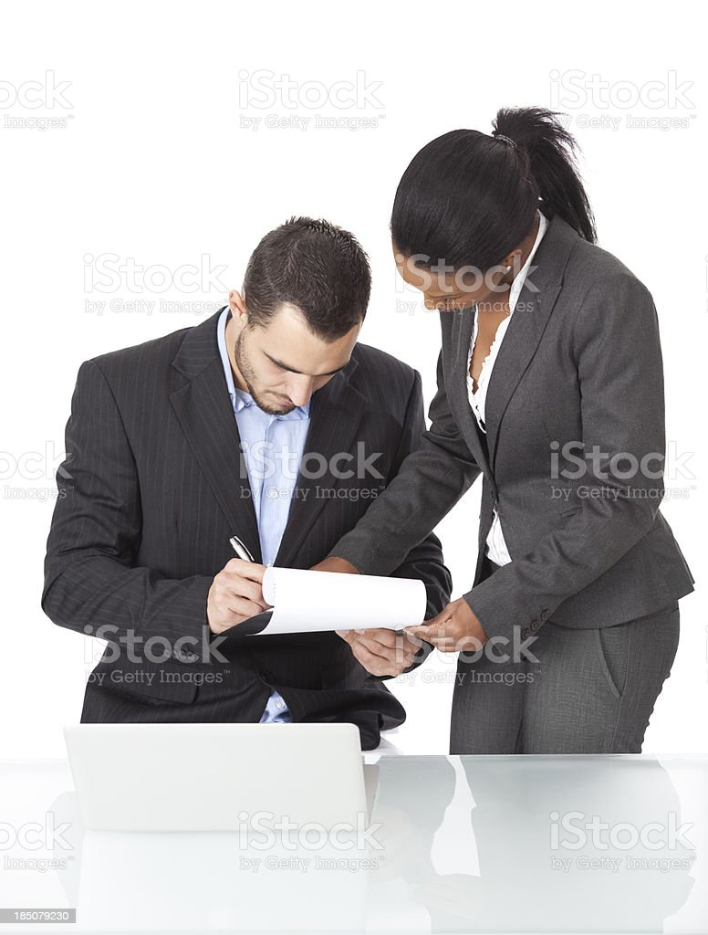 Business couple working together. royalty-free stock photo