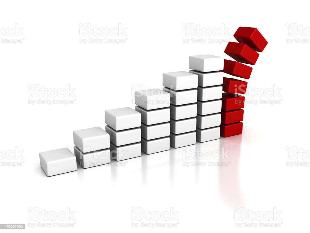business crisis bar graph falling down stock photo