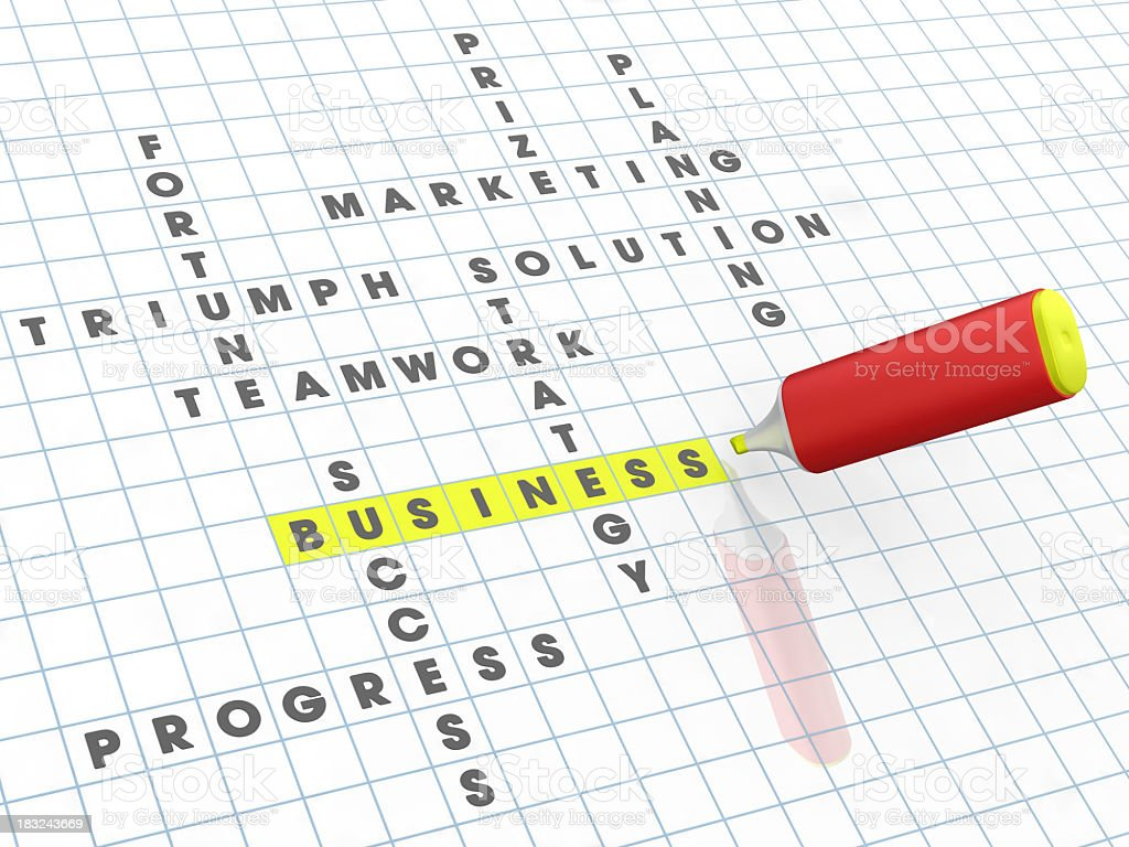 Business Crossword and Highlighter royalty-free stock photo