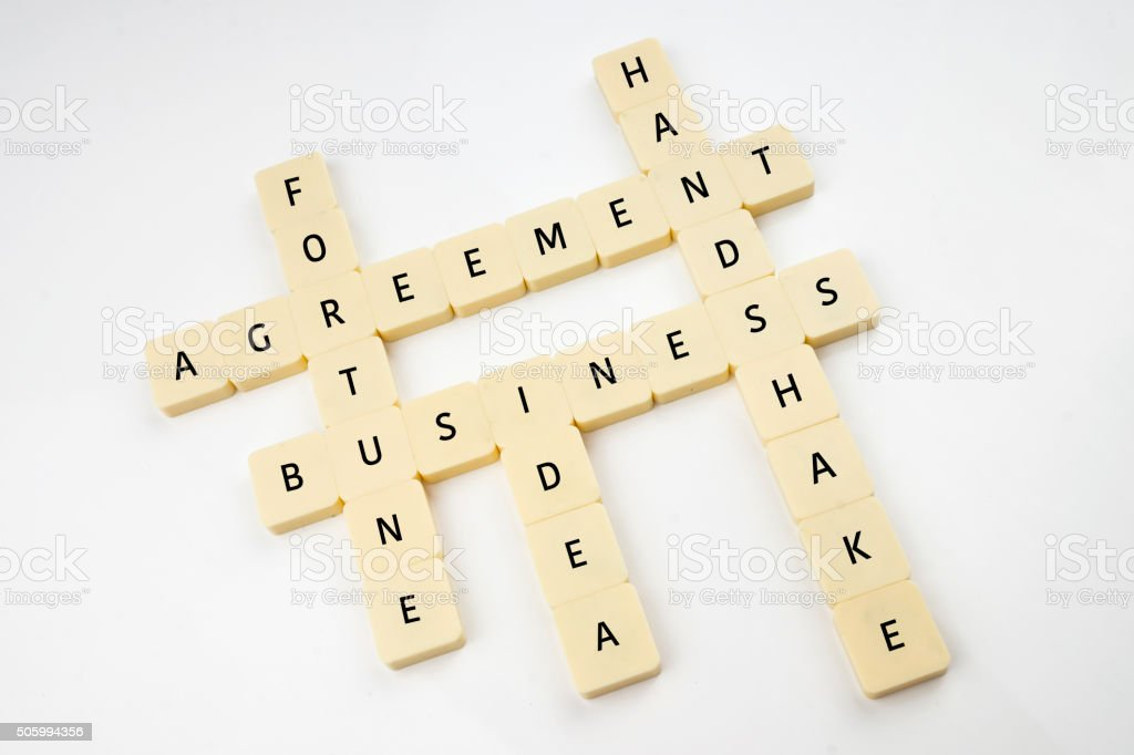 Business Crosswords on Blocks stock photo