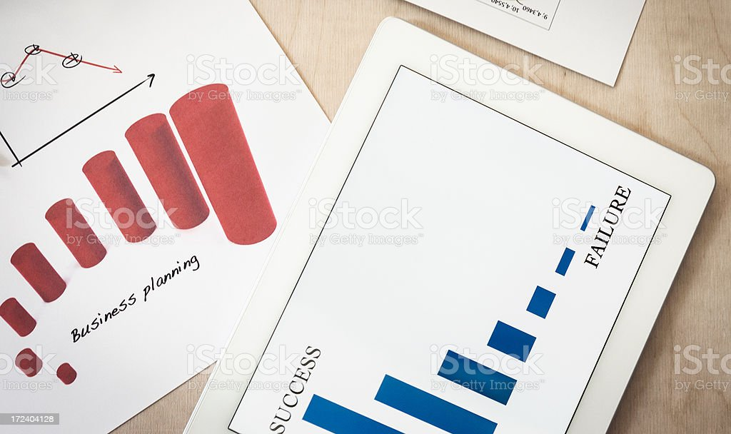 Business data table with digital tablet royalty-free stock photo